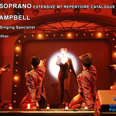 Mezzo Soprano live on theatrical stage mid performance as a cat and details of Ross Campbells Mezzo Soprano Musical Theatre Repertoire catalogue